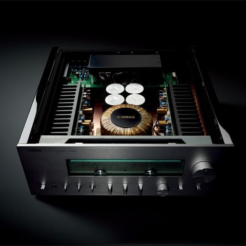exposed top of A-S3200 integrated amplifier showing fully balanced circuitry