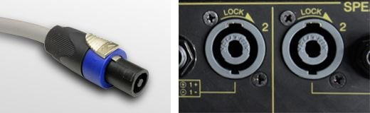Connectors used with passive speakers